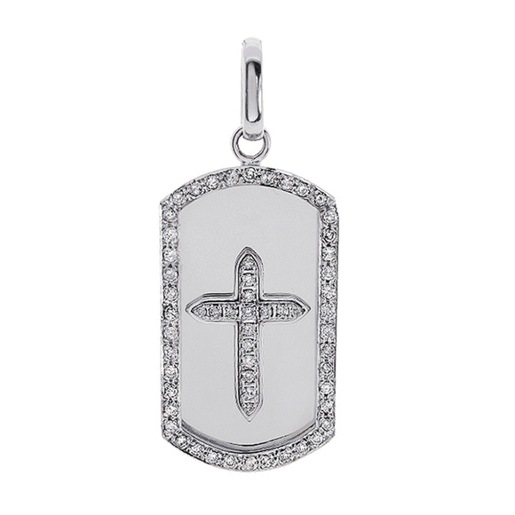 Avital co jewelry accessories 300 carat round cut diamond dog 300 carat round cut diamond dog tag cross pendant aloadofball Gallery